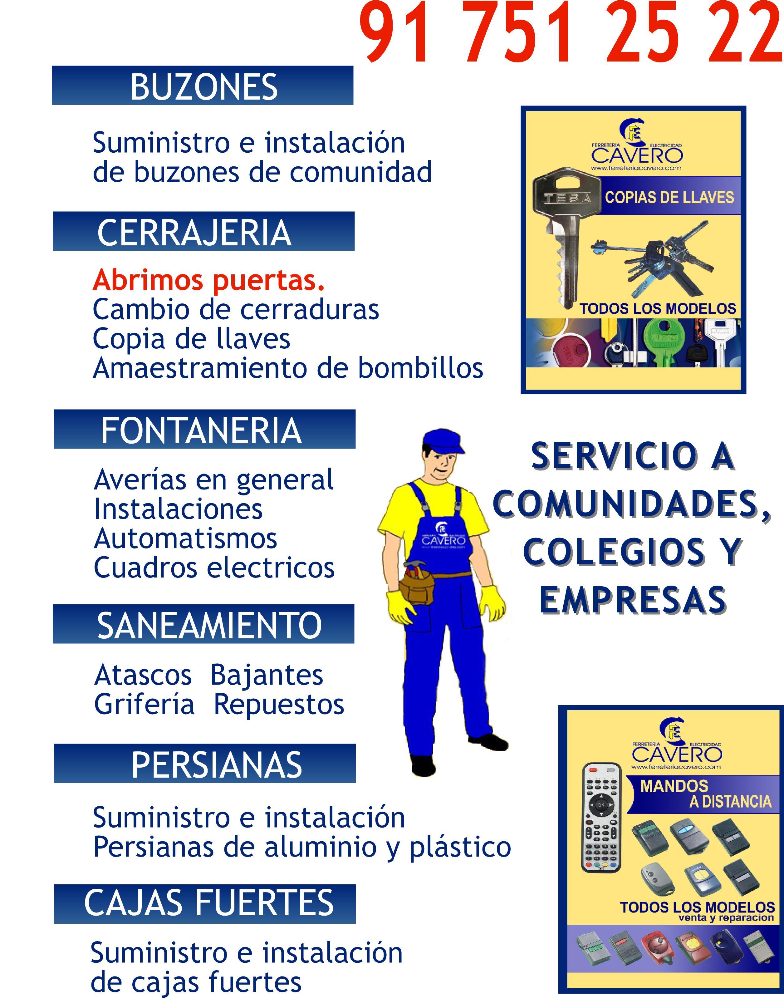Servicios ofrecidos  a comunidades colegios y empresas por la ferretería vinateros cavero moratalaz, Buzones, cerrajería, fontanería.