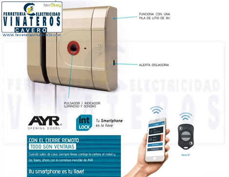 CERRADURA, INVISIBLE, AYR INT-LOCK, BLUETOOTH ORO